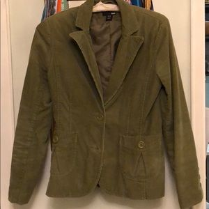 Olive green courdoroy blazer, fitted, H&M